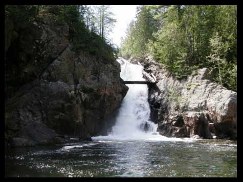 Waterfalls into the Little White River are only a 15 minute walk from camp trout
