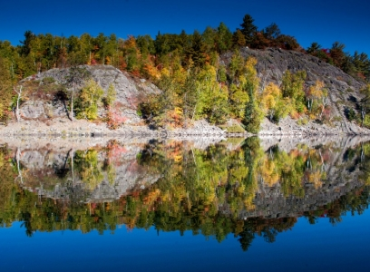 lake reflection at Blue Lake Camp - trout fishing lodge on Lake Kirkpatrick