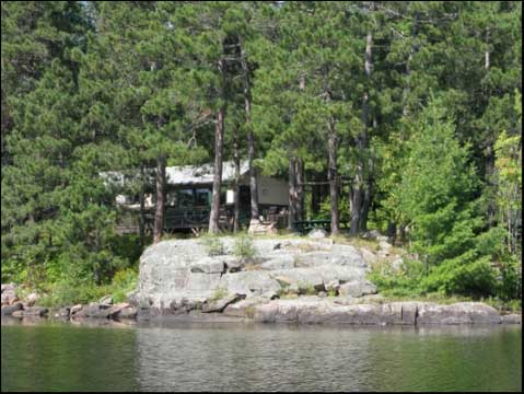 Blue Lake Camp - trout fishing lodge on Kirkpatrick Lake cabin on the edge of the lake