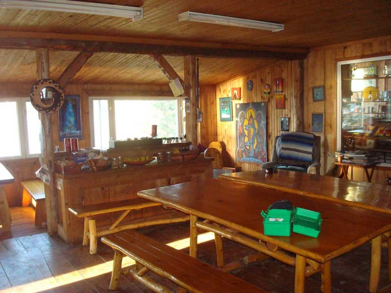 indoor cabin view Blue Lake Camp - trout fishing lodge on Lake Kirkpatrick