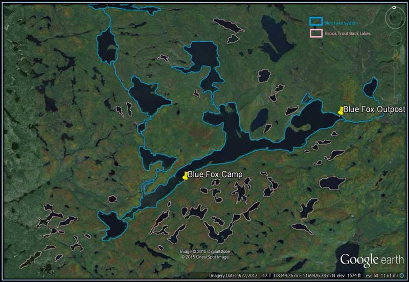 map of Blue Lake Camp - trout fishing lodge on Lake Kirkpatrick
